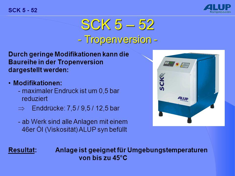 SCK 5 - 52 SCK 5 – 52 - Tropenversion - Durch geringe Modifikationen kann die Baureihe in der Tropenversion dargestellt werden: Modifikationen: - maxi