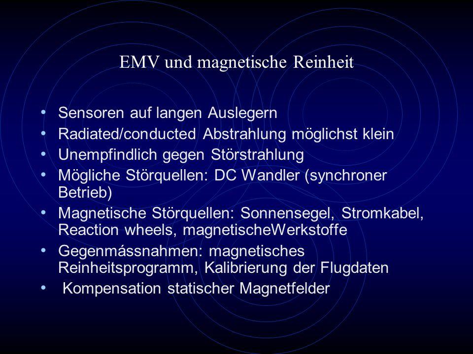 EMV und magnetische Reinheit Sensoren auf langen Auslegern Radiated/conducted Abstrahlung möglichst klein Unempfindlich gegen Störstrahlung Mögliche S
