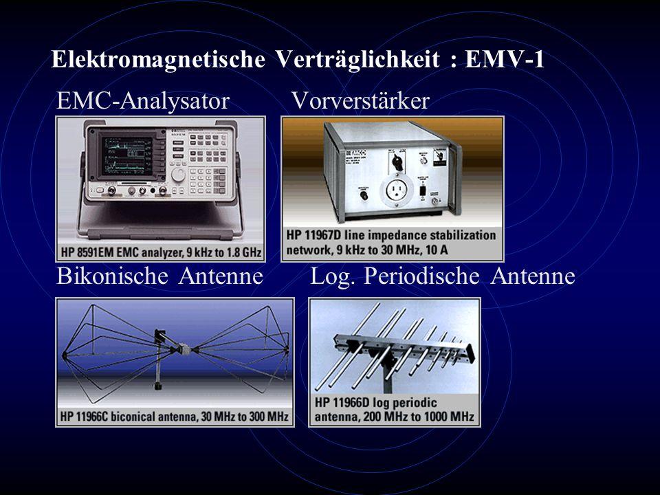 Elektromagnetische Verträglichkeit : EMV-1 EMC-Analysator Vorverstärker Bikonische Antenne Log. Periodische Antenne