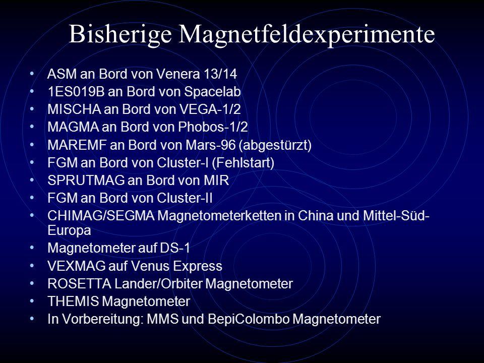 Bisherige Magnetfeldexperimente ASM an Bord von Venera 13/14 1ES019B an Bord von Spacelab MISCHA an Bord von VEGA-1/2 MAGMA an Bord von Phobos-1/2 MAREMF an Bord von Mars-96 (abgestürzt) FGM an Bord von Cluster-I (Fehlstart) SPRUTMAG an Bord von MIR FGM an Bord von Cluster-II CHIMAG/SEGMA Magnetometerketten in China und Mittel-Süd- Europa Magnetometer auf DS-1 VEXMAG auf Venus Express ROSETTA Lander/Orbiter Magnetometer THEMIS Magnetometer In Vorbereitung: MMS und BepiColombo Magnetometer