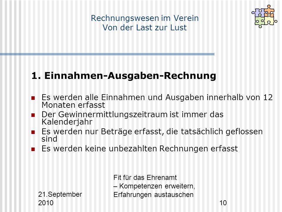 21.September 2010 Fit für das Ehrenamt – Kompetenzen erweitern, Erfahrungen austauschen 10 Rechnungswesen im Verein Von der Last zur Lust 1.