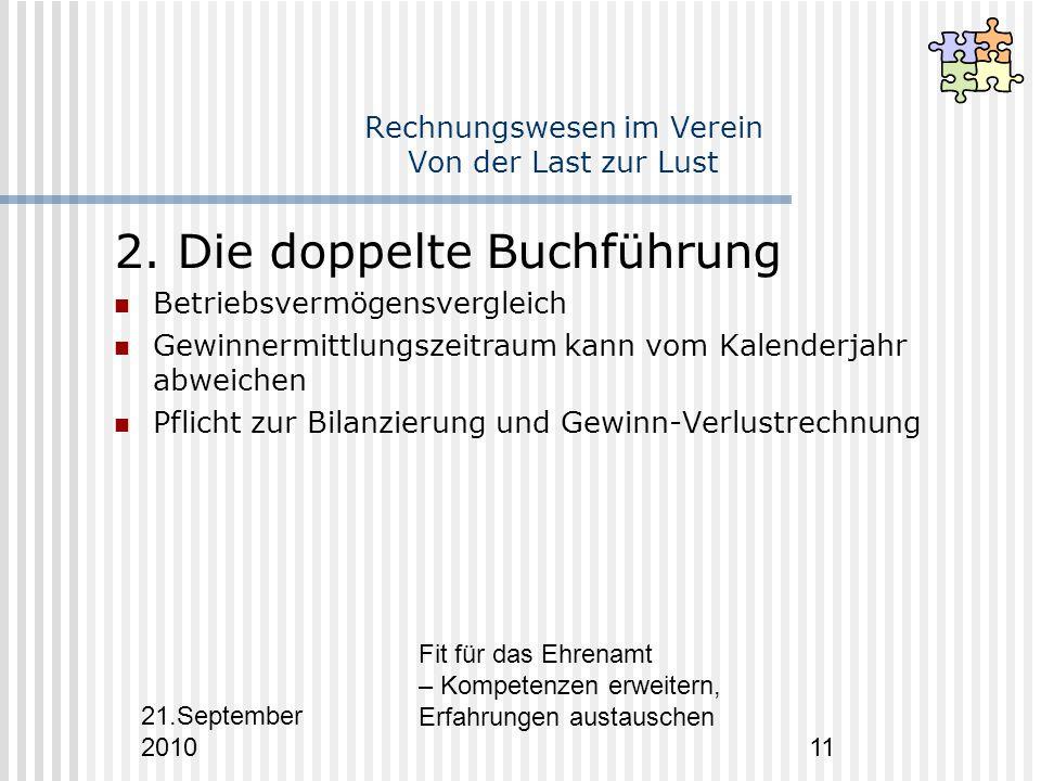 21.September 2010 Fit für das Ehrenamt – Kompetenzen erweitern, Erfahrungen austauschen 11 Rechnungswesen im Verein Von der Last zur Lust 2.