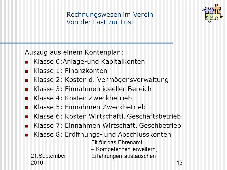 21.September 2010 Fit für das Ehrenamt – Kompetenzen erweitern, Erfahrungen austauschen 13 Auszug aus einem Kontenplan: Klasse 0:Anlage-und Kapitalkonten Klasse 1: Finanzkonten Klasse 2: Kosten d.