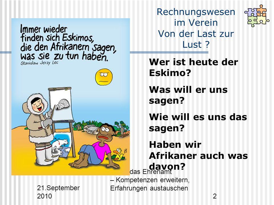 21.September 2010 Fit für das Ehrenamt – Kompetenzen erweitern, Erfahrungen austauschen 2 Rechnungswesen im Verein Von der Last zur Lust .