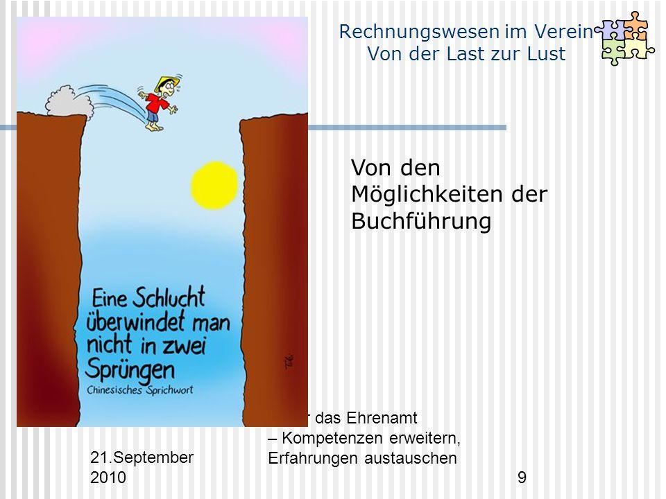21.September 2010 Fit für das Ehrenamt – Kompetenzen erweitern, Erfahrungen austauschen 9 Rechnungswesen im Verein Von der Last zur Lust Von den Möglichkeiten der Buchführung