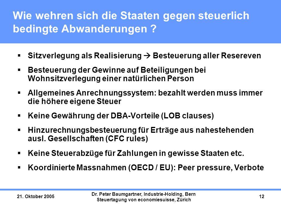 21. Oktober 2005 Dr. Peter Baumgartner, Industrie-Holding, Bern Steuertagung von economiesuisse, Zürich 12 Wie wehren sich die Staaten gegen steuerlic