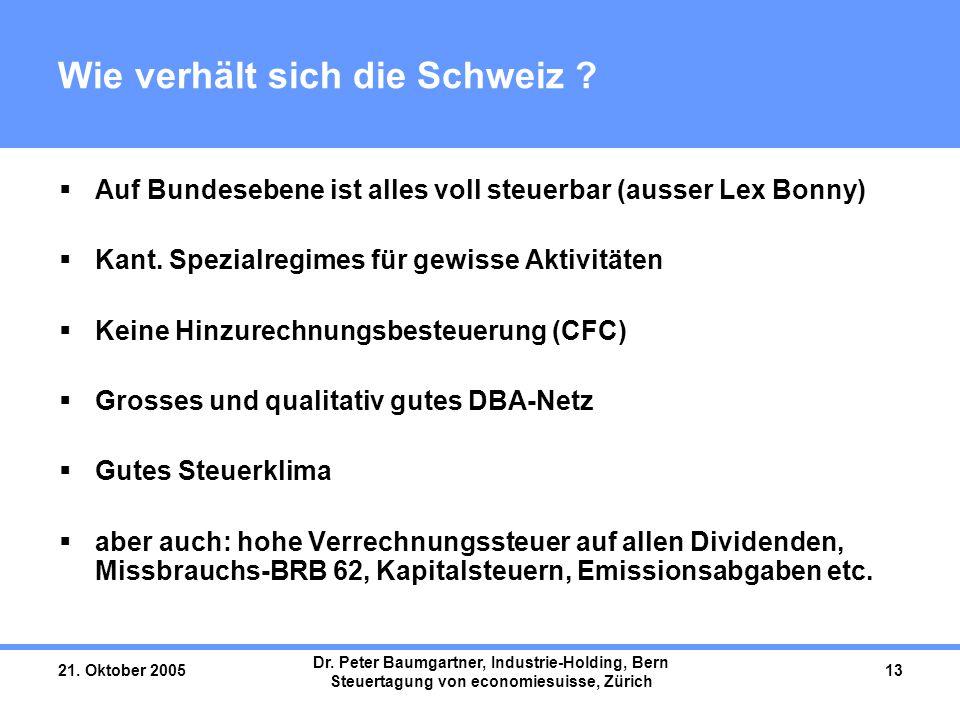21. Oktober 2005 Dr. Peter Baumgartner, Industrie-Holding, Bern Steuertagung von economiesuisse, Zürich 13 Wie verhält sich die Schweiz ?  Auf Bundes