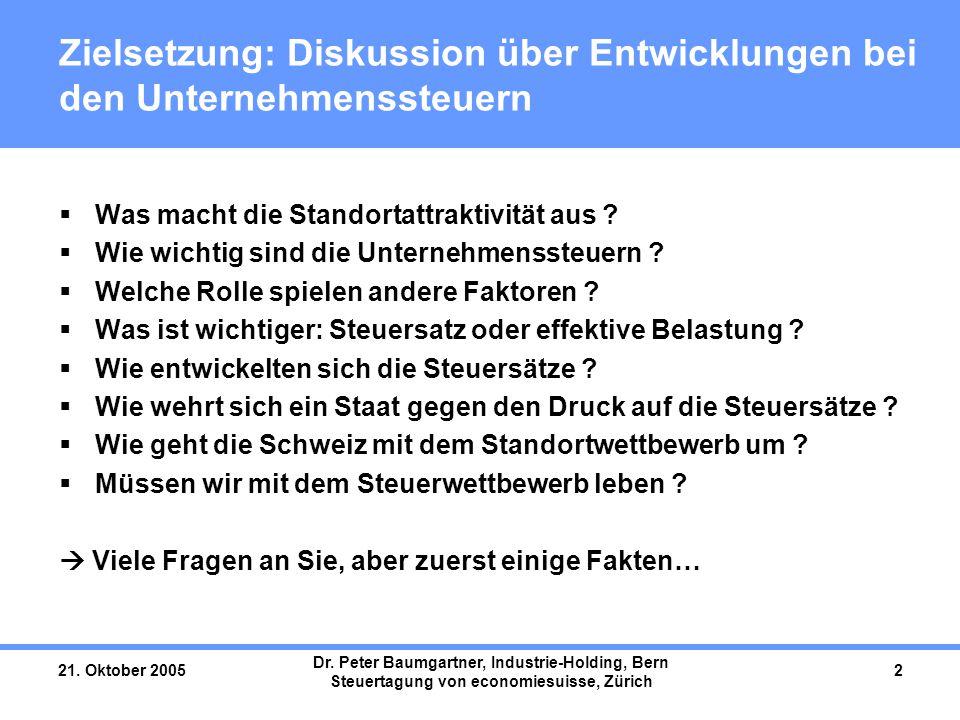 21. Oktober 2005 Dr. Peter Baumgartner, Industrie-Holding, Bern Steuertagung von economiesuisse, Zürich 2 Zielsetzung: Diskussion über Entwicklungen b