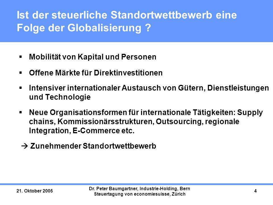 21. Oktober 2005 Dr. Peter Baumgartner, Industrie-Holding, Bern Steuertagung von economiesuisse, Zürich 4 Ist der steuerliche Standortwettbewerb eine