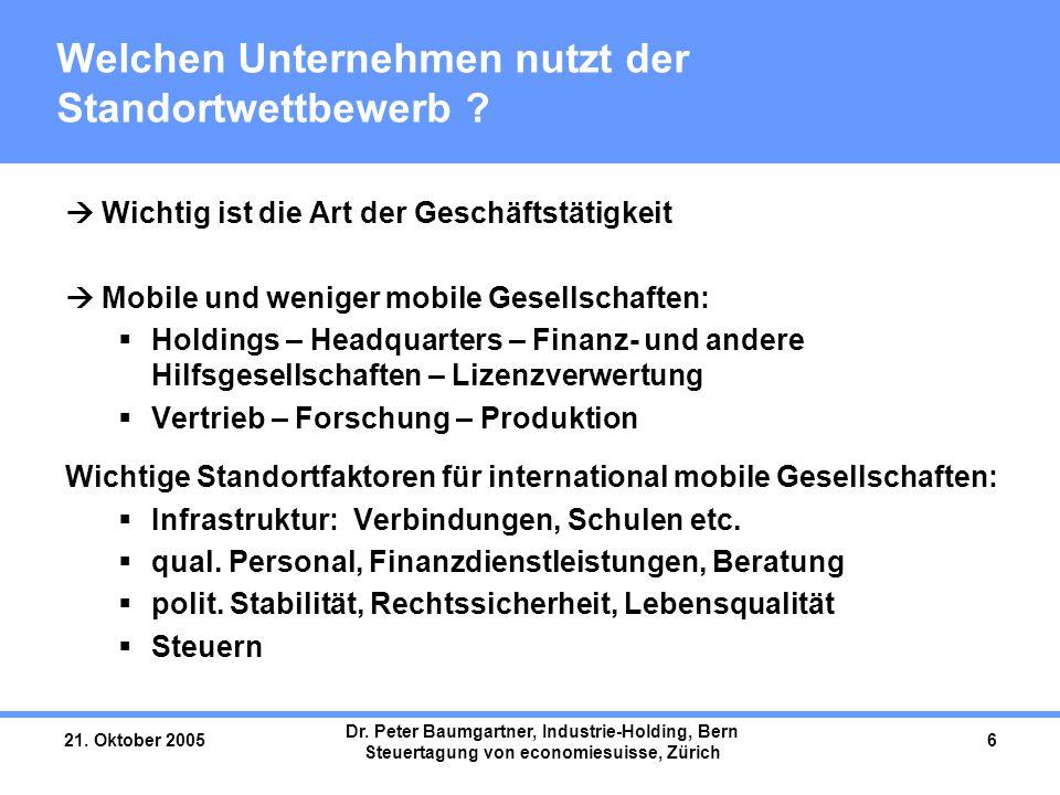 21. Oktober 2005 Dr. Peter Baumgartner, Industrie-Holding, Bern Steuertagung von economiesuisse, Zürich 6 Welchen Unternehmen nutzt der Standortwettbe