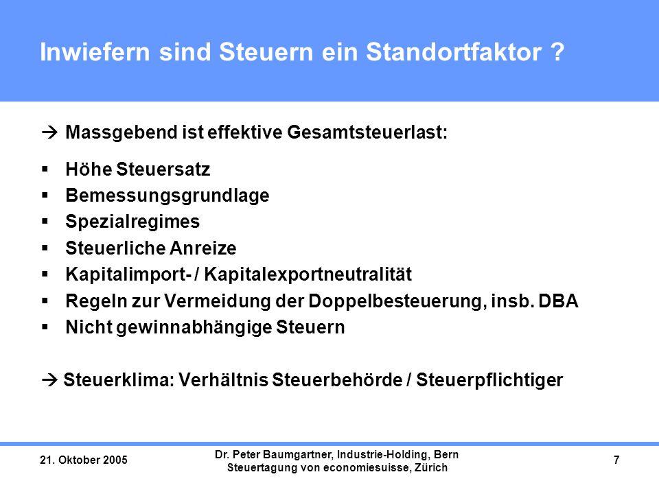 21. Oktober 2005 Dr. Peter Baumgartner, Industrie-Holding, Bern Steuertagung von economiesuisse, Zürich 7 Inwiefern sind Steuern ein Standortfaktor ?