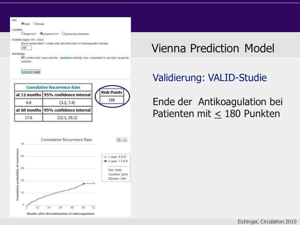 Validierung: VALID-Studie Ende der Antikoagulation bei Patienten mit < 180 Punkten Vienna Prediction Model Eichinger, Circulation 2010