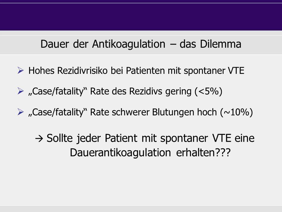 "Dauer der Antikoagulation – das Dilemma  Hohes Rezidivrisiko bei Patienten mit spontaner VTE  ""Case/fatality"" Rate des Rezidivs gering (<5%)  ""Case"