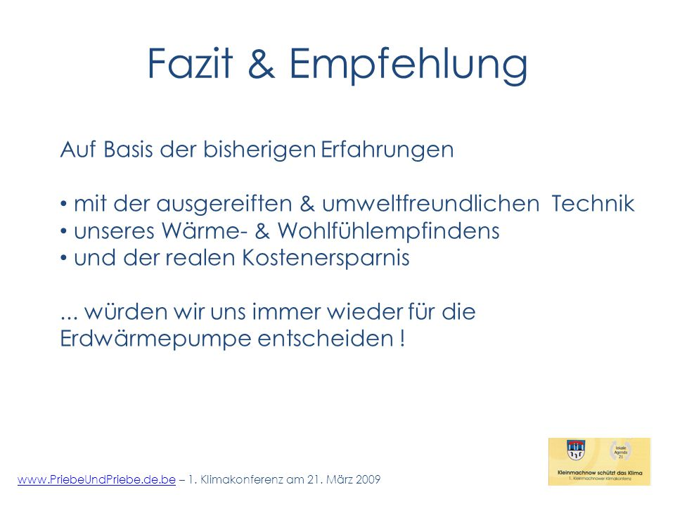 Fazit & Empfehlung www.PriebeUndPriebe.de.bewww.PriebeUndPriebe.de.be – 1.