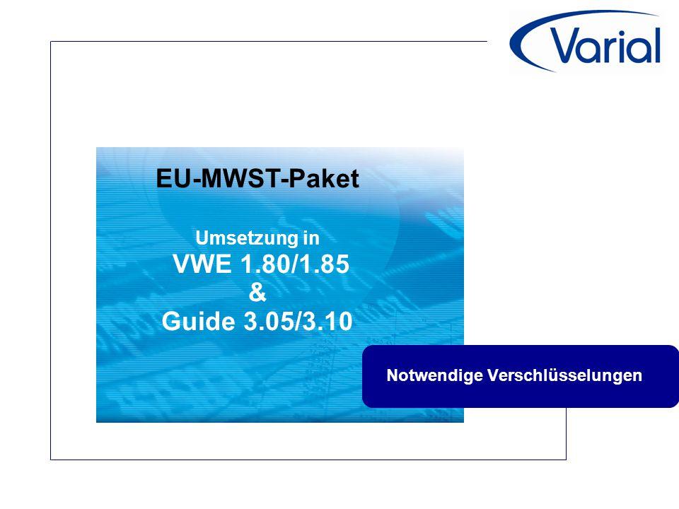 """Das EU-Mehrwertsteuerpaket 2010  Umsetzung in der Varial World Edition  Neuer Steuertyp """"EU Leistung für Leistungen ins Ausland  Anlage eines Steuerschlüssel mit 0%  Definition des Sachkonto im Kontenplan  Verschlüsselung in der UVA 2010  Zeile 41, UVA-Position 21  Wird auch in der ZM gemeldet."""
