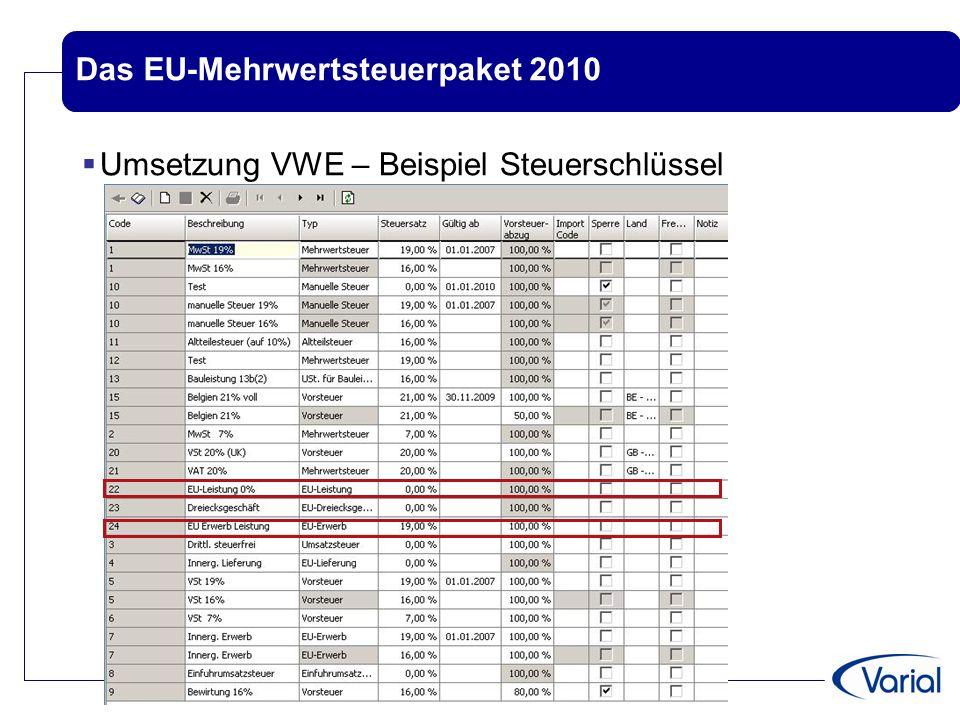 Das EU-Mehrwertsteuerpaket 2010  Umsetzung in Varial Guide –Beispiel für Verschlüsselung  Steuersatz für EU-Leistungen..