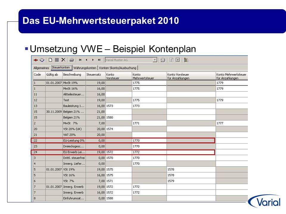 Das EU-Mehrwertsteuerpaket 2010  Umsetzung in Varial Guide - Beispiel für Verschlüsselung  Steuersatz für EU-Leistungen..