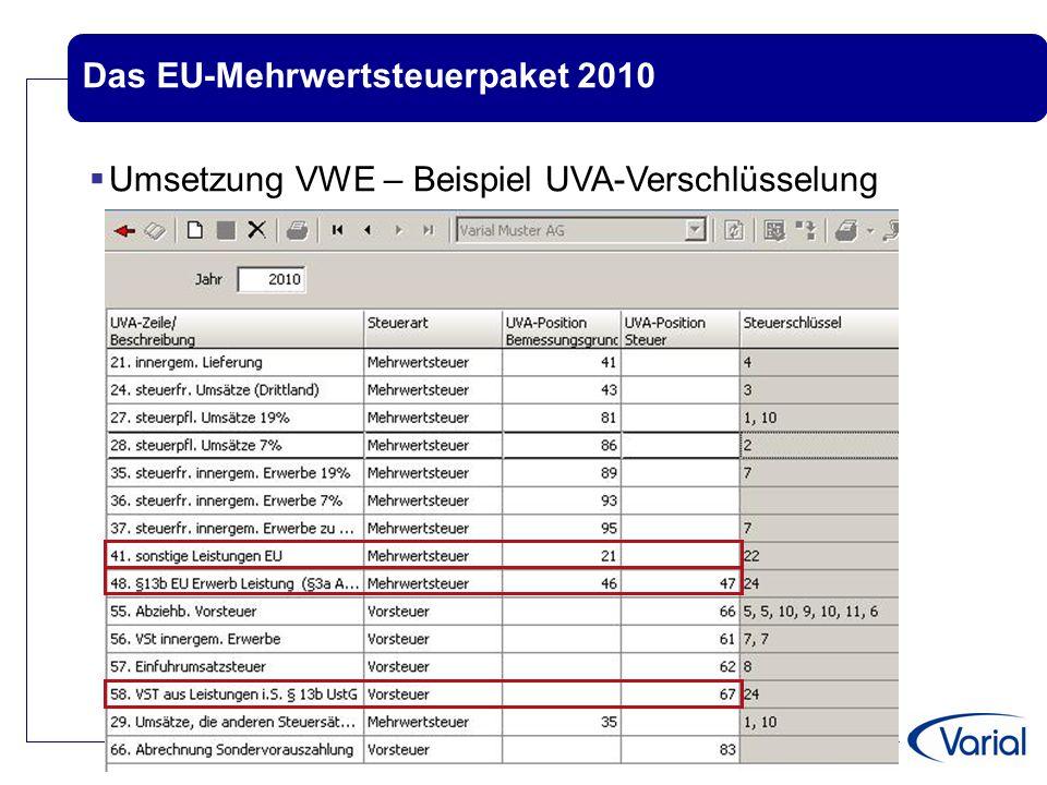 Das EU-Mehrwertsteuerpaket 2010  Umsetzung in Varial Guide - Beispiel für Verschlüsselung  Steuersatz für EU-Leistungs-Erwerb  Neue Sachkonten und ggf.
