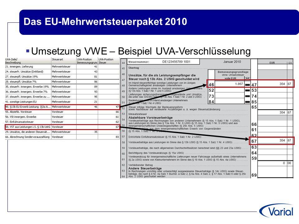 Das EU-Mehrwertsteuerpaket 2010  Umsetzung VWE – Beispiel ZM - Erstellung