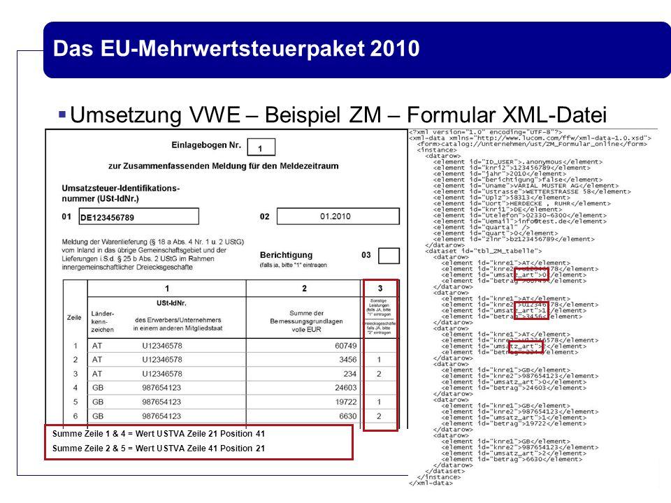 Das EU-Mehrwertsteuerpaket 2010  Umsetzung VWE – Beispiel ZM – Formular XML-Datei Summe Zeile 1 & 4 = Wert USTVA Zeile 21 Position 41 Summe Zeile 2 &