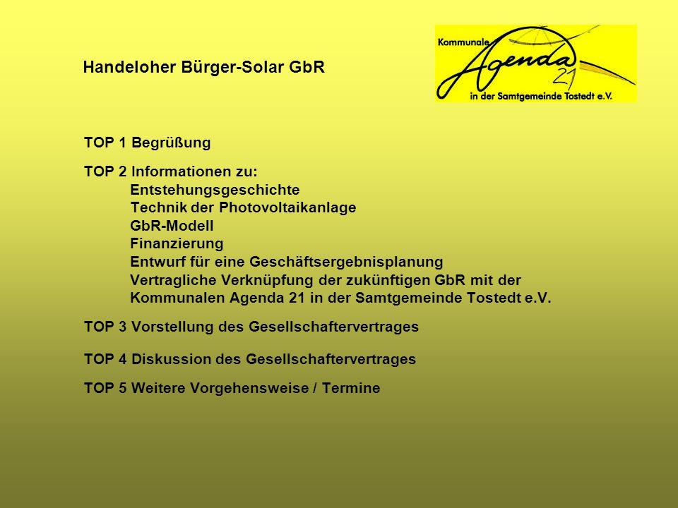Handeloher Bürger-Solar GbR Weitere Vorgehensweise / Termine Mit der heutigen Versammlung werden die Zeichner der bisherigen Absichtserklärungen aufgefordert, die Zeichnung von Anteilen an der Handeloher Bürger-Solar GbR verbindlich zu erklären.
