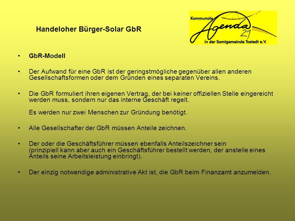Handeloher Bürger-Solar GbR GbR-Modell Der Aufwand für eine GbR ist der geringstmögliche gegenüber allen anderen Gesellschaftsformen oder dem Gründen