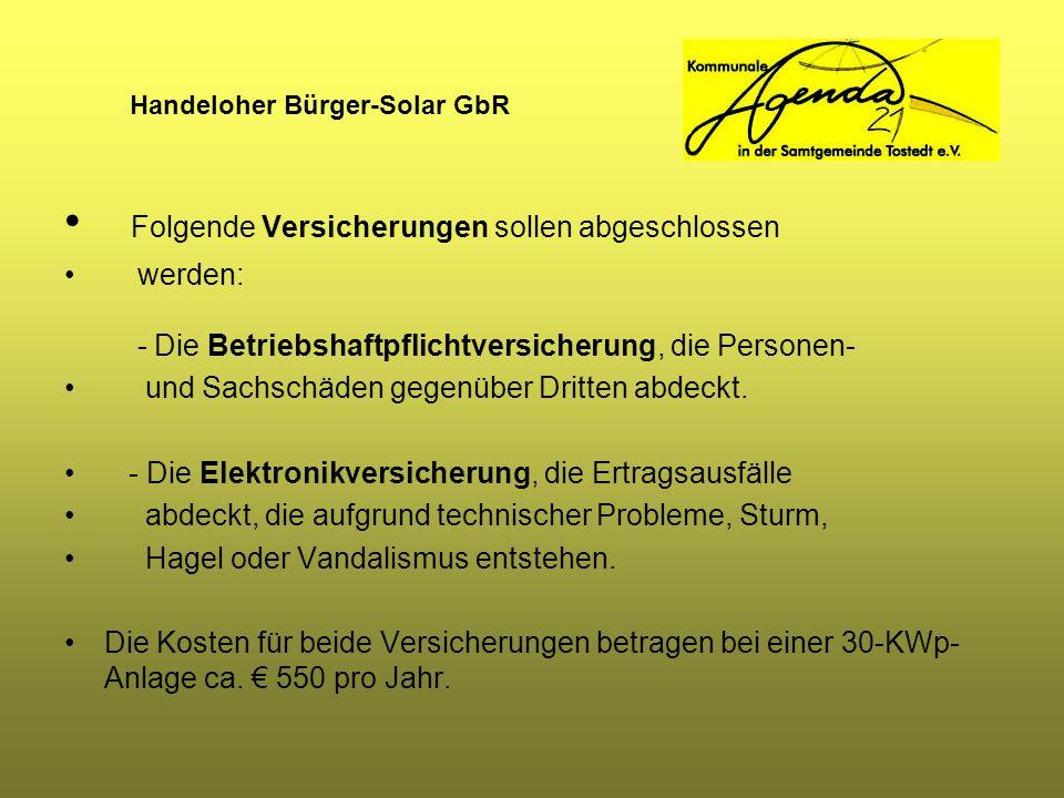 Handeloher Bürger-Solar GbR Folgende Versicherungen sollen abgeschlossen werden: - Die Betriebshaftpflichtversicherung, die Personen- und Sachschäden