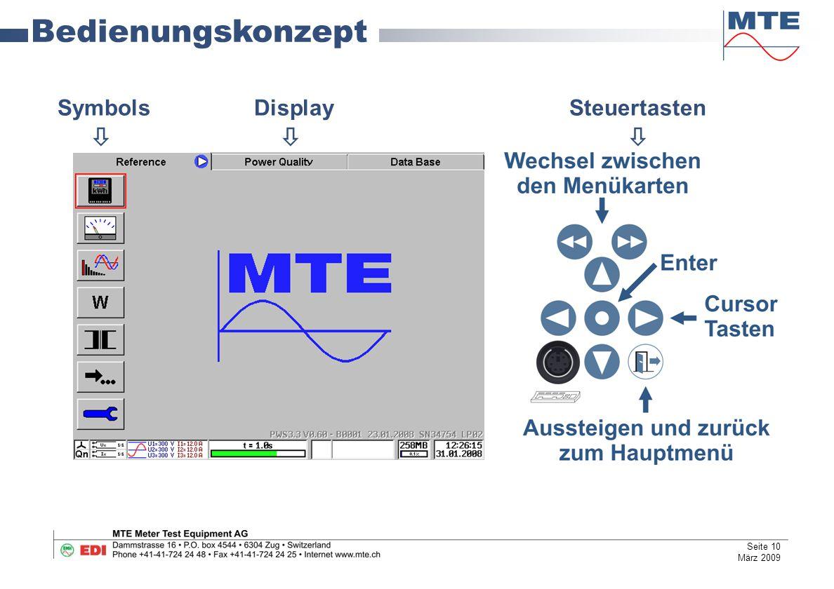 Bedienungskonzept Symbols Display Steuertasten   Seite 10 März 2009