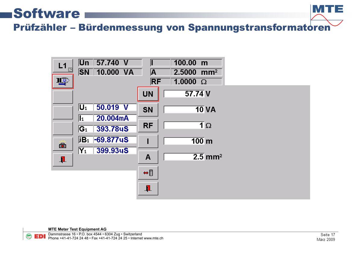 Software Prüfzähler – Bürdenmessung von Spannungstransformatoren Seite 17 März 2009