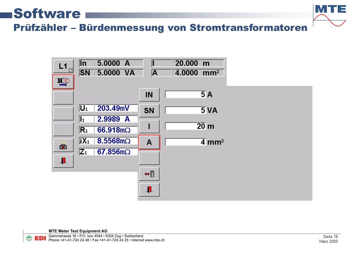 Software Prüfzähler – Bürdenmessung von Stromtransformatoren Seite 18 März 2009