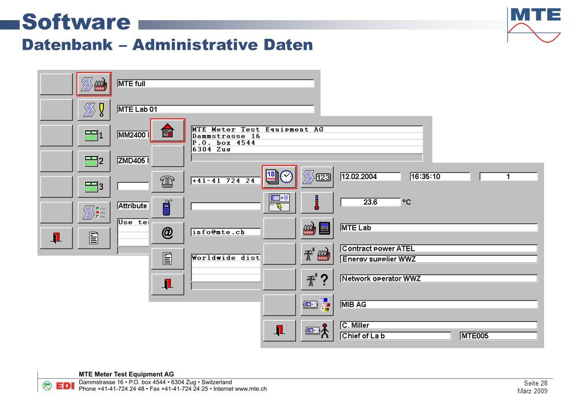 Software Datenbank – Administrative Daten Seite 28 März 2009