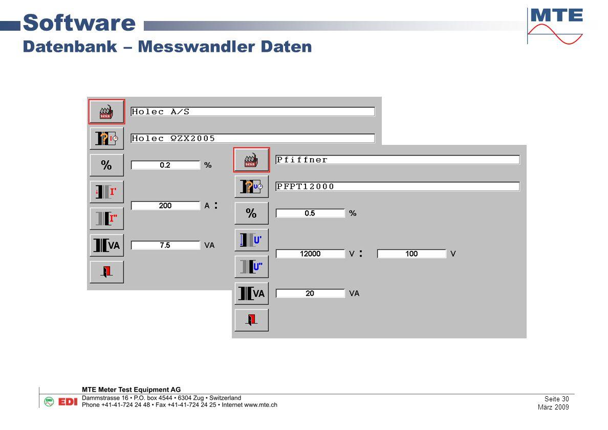 Software Datenbank – Messwandler Daten Seite 30 März 2009