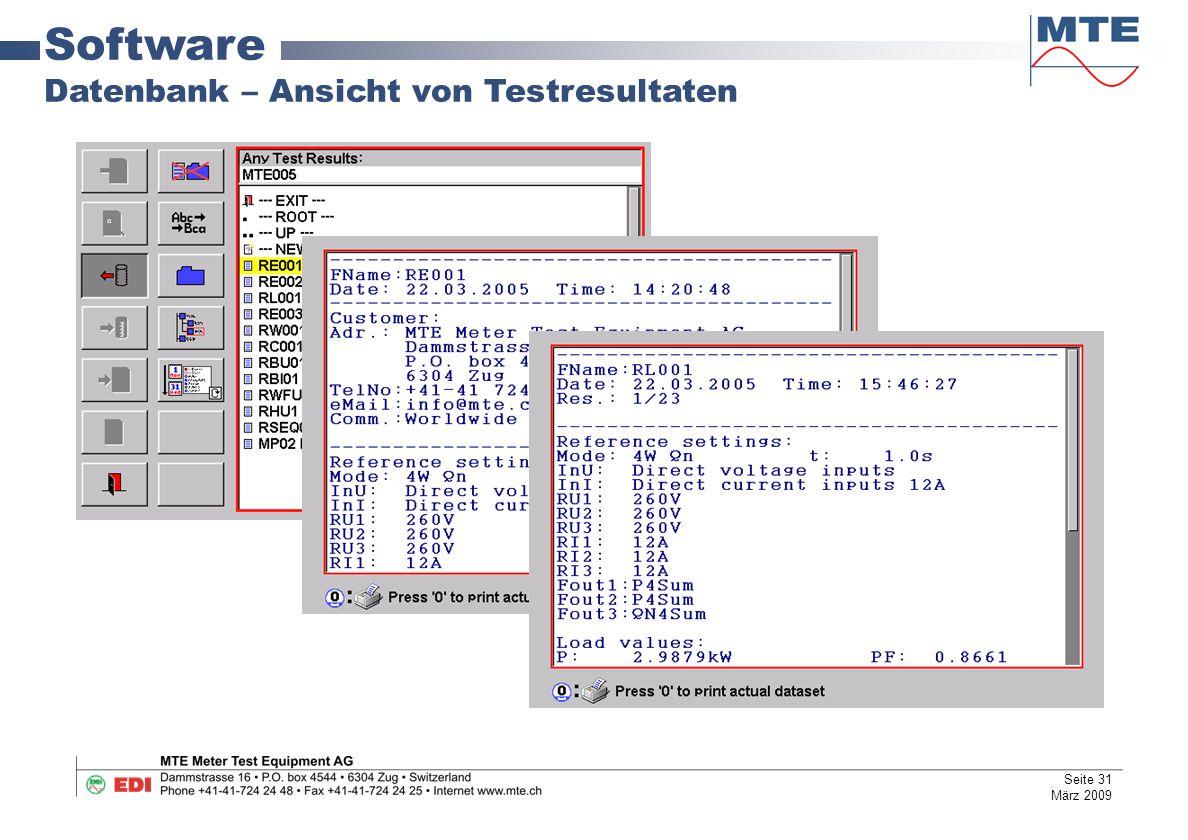 Software Datenbank – Ansicht von Testresultaten Seite 31 März 2009