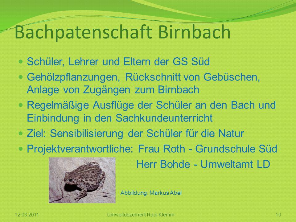 Bachpatenschaft Birnbach Schüler, Lehrer und Eltern der GS Süd Gehölzpflanzungen, Rückschnitt von Gebüschen, Anlage von Zugängen zum Birnbach Regelmäß