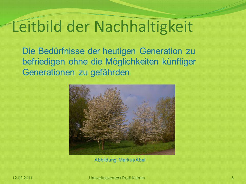 Leitbild der Nachhaltigkeit Die Bedürfnisse der heutigen Generation zu befriedigen ohne die Möglichkeiten künftiger Generationen zu gefährden 512.03.2