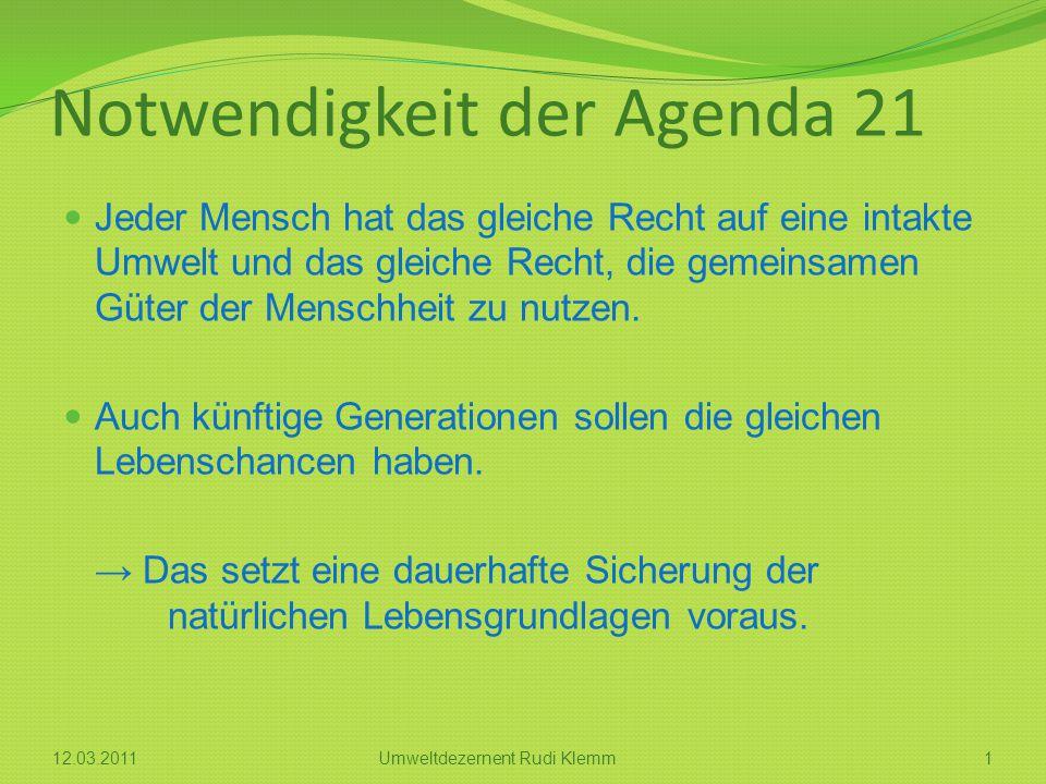 Notwendigkeit der Agenda 21 Jeder Mensch hat das gleiche Recht auf eine intakte Umwelt und das gleiche Recht, die gemeinsamen Güter der Menschheit zu