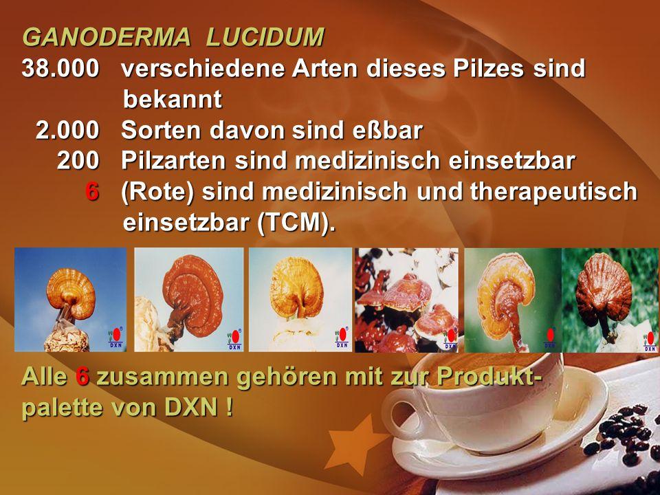 GANODERMA LUCIDUM 38.000 verschiedene Arten dieses Pilzes sind bekannt 2.000 Sorten davon sind eßbar 2.000 Sorten davon sind eßbar 200 Pilzarten sind medizinisch einsetzbar 200 Pilzarten sind medizinisch einsetzbar 6 (Rote) sind medizinisch und therapeutisch einsetzbar (TCM).