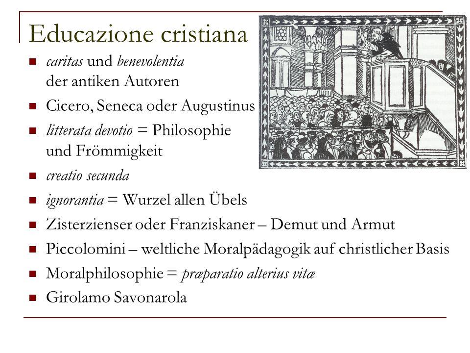 Leibeserziehung Francesco d'Assisi oder Bernardino da Siena – corpazzo und fratello asino Müller: Dazu kommt, daß er die Leibesübungen, den Tanz und die musischen Disziplinen in den regulären Lehrplan aufgenommen hat.