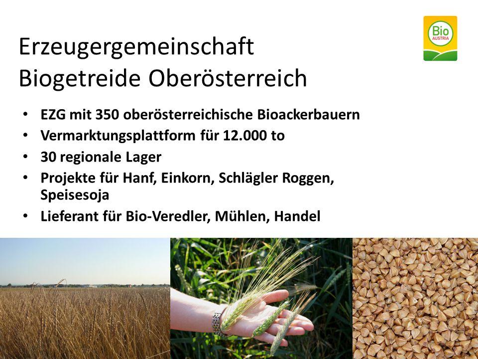 EZG mit 350 oberösterreichische Bioackerbauern Vermarktungsplattform für 12.000 to 30 regionale Lager Projekte für Hanf, Einkorn, Schlägler Roggen, Sp