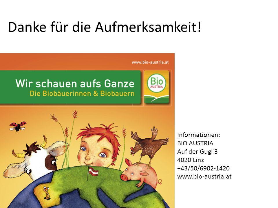 Danke für die Aufmerksamkeit! Informationen: BIO AUSTRIA Auf der Gugl 3 4020 Linz +43/50/6902-1420 www.bio-austria.at