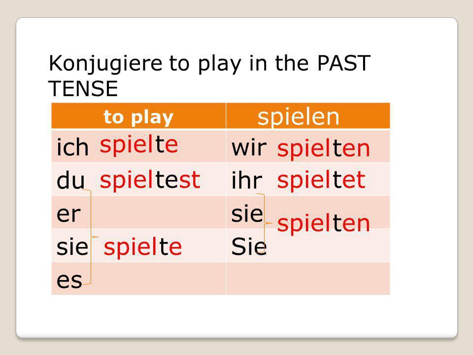 Konjugiere to play in the PAST TENSE to play ichwir duihr ersie Sie es spiel spielen te test te ten tet ten