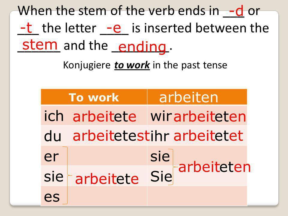 To work ichwir duihr ersie Sie es arbeit arbeiten ete etest ete eten etet eten When the stem of the verb ends in ___ or ___ the letter ____ is inserted between the ______ and the ________.