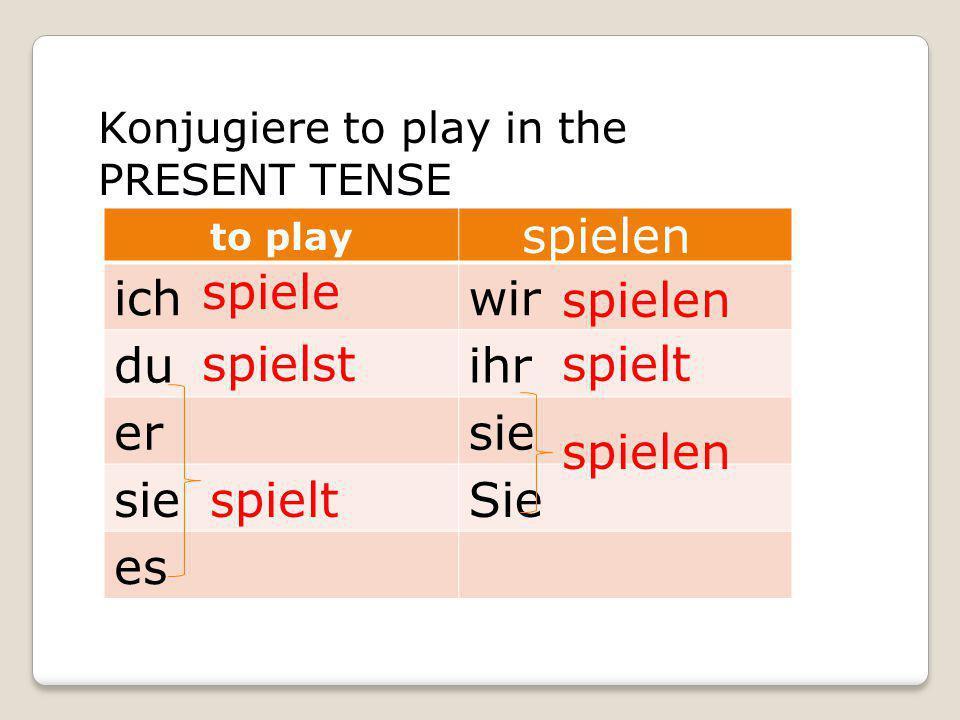 Konjugiere to play in the PRESENT TENSE to play ichwir duihr ersie Sie es spiele spielst spielt spielen spielt spielen