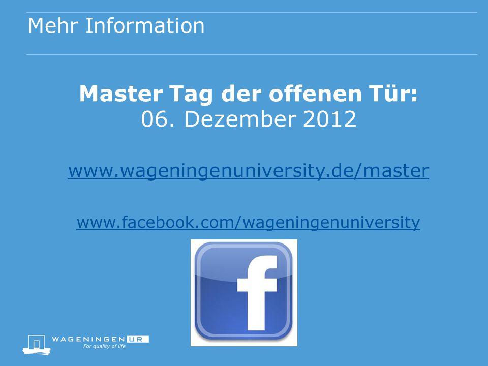 Mehr Information Master Tag der offenen Tür: 06.