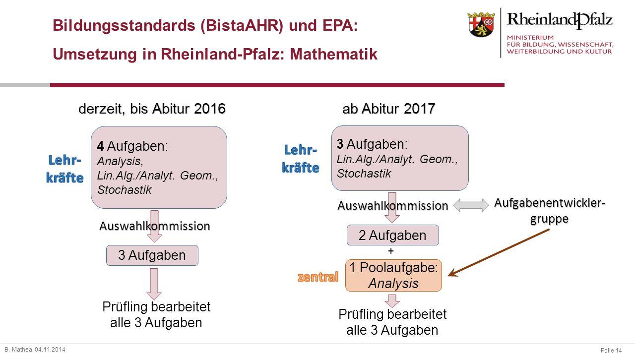 Folie 14 B. Mathea, 04.11.2014 Bildungsstandards (BistaAHR) und EPA: Umsetzung in Rheinland-Pfalz: Mathematik 4 Aufgaben: Analysis, Lin.Alg./Analyt. G