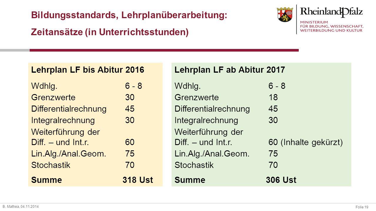 Folie 19 B. Mathea, 04.11.2014 Lehrplan LF bis Abitur 2016 Wdhlg.6 - 8 Grenzwerte30 Differentialrechnung45 Integralrechnung30 Weiterführung der Diff.