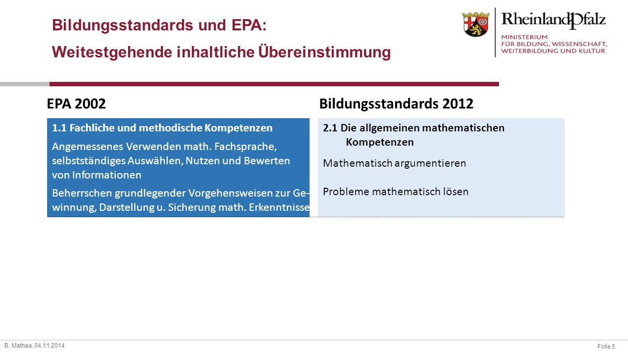 Folie 5 B. Mathea, 04.11.2014 EPA 2002Bildungsstandards 2012 1.1 Fachliche und methodische Kompetenzen Angemessenes Verwenden math. Fachsprache, selbs