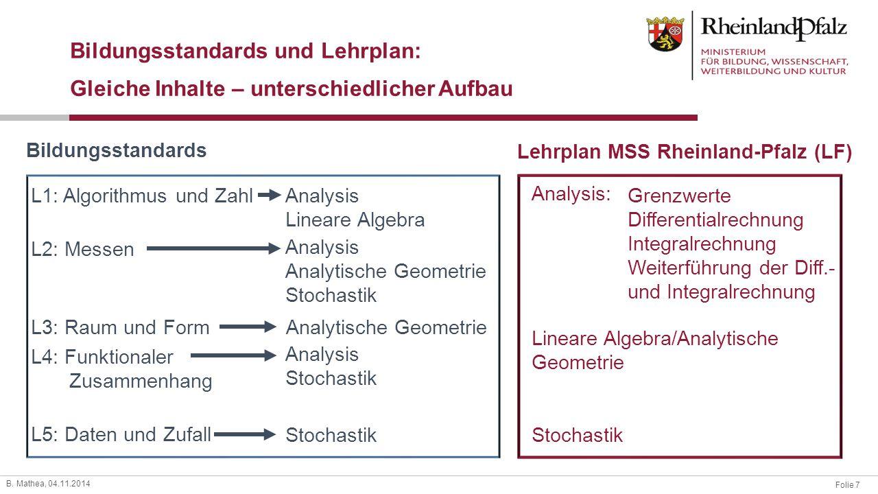 Folie 7 B. Mathea, 04.11.2014 Grenzwerte Differentialrechnung Integralrechnung Weiterführung der Diff.- und Integralrechnung L1: Algorithmus und Zahl