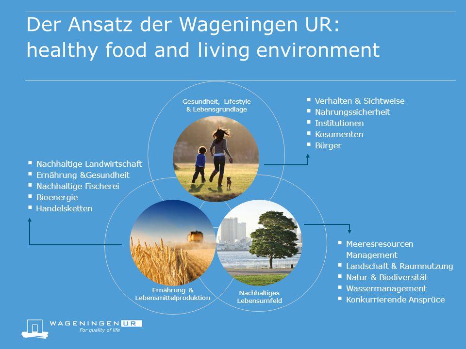 Nachhaltiges Lebensumfeld Der Ansatz der Wageningen UR: healthy food and living environment Ernährung & Lebensmittelproduktion Gesundheit, Lifestyle &