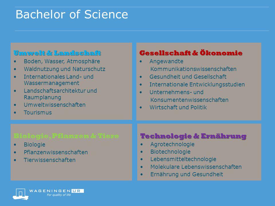 Bachelor of Science Umwelt & Landschaft Boden, Wasser, Atmosphäre Waldnutzung und Naturschutz Internationales Land- und Wassermanagement Landschaftsar